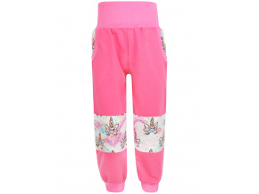 Dětské růžové tepláky s vysokým pasem jednorožci