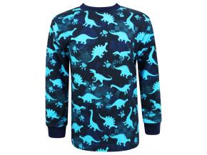Dětské triko s dlouhým rukávem dinosauři modré
