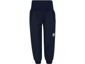 Dětské tmavě modré softshellové kalhoty s fleecem