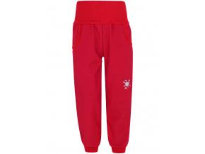 Dětské červené softshellové kalhoty s vysokým pasem