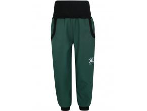 Dětské tmavě zelené zateplené softshellové kalhoty
