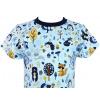 Dětské tričko modrý les zvířátka detail krku compressor