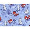 Dětské turky lišky a králíčci na fialové detail látky