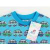 Dětské modré tričko s autobusy deatil krku