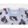 Dětské pyžamo motorky na šedé detail krku