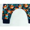 Dětské turecké kalhoty lišky na tmavě modré detail nohavic
