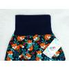 Dětské turecké kalhoty lišky na tmavě modré detail pasu