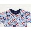 Dětské pyžamo kopačky a míče šedé detail krku