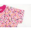 Dětské růžové triko s kytičkami detail rukávu