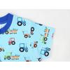 Dětské modré triko traktory detail rukávu