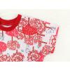 Dětské pyžamo s krátkým rukávem červený les detail krku