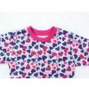 Dětské pyžamo modrorůžová srdíčka detail krku