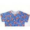 Dětské modré triko lišky detail krku