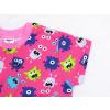 Dětské noční košile růžové příšerky detail krku
