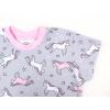 Dětská noční košile jednorožci na šedé detail rukávu