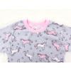 Dětské pyžamo Růžoví jednorožci na šedé detail krku