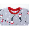 Dětské vánoční pyžamo šedí skřítci detail krku