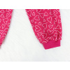 Dětské růžové pyžamo se srdíčky detail nohavice