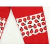 Dětské červené tepláky berušky detail dvojitá kolena