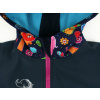 Dětská softshellová bunda zvířátka detail garáže na zip