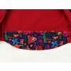 Dětská softshellová bunda ptáčci červená detail zadního dílu2