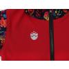 Dětská softshellová bunda ptáčci červená detail hlavní nažehlovačky