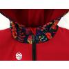 Dětská softshellová bunda ptáčci červená detail garáže na zip