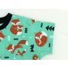 Dětské triko s krátkým rukávem lišky na zelené detail rukávu