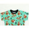 Dětské triko s krátkým rukávem lišky na zelené detail1