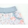 Dětské letní softhsellové kalhoty ptáčci detail kapsy