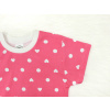 Dětské růžové pyžamo s krátkým rukávem srdíčka a puntíky detail rukávu kopie
