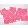 Dětské růžové pyžamo s krátkým rukávem srdíčka a puntíky detail