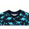 Dětské tričko s krátkým rukávem modré dino detail krku