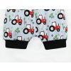 Dětské kraťasy pumpky traktory na šedé detail nohavice