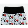 Dětské kraťasy pumpky traktory na šedé detail pasu