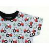 Dětské triko s krátkým rukávem Traktory na šedé detail rukávu