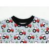 Dětské triko s krátkým rukávem Traktory na šedé detail krku
