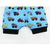 Dětské kraťasy pumpky Stavební stroje na modré detail nohavic