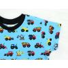 Dětské tričko s krátkým rukávem Stavební stroje na modré detail rukávu