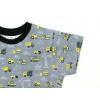 Dětské triko s krátkým rukávem bagry šedé detail rukávu