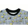 Dětské triko s krátkým rukávem bagry šedé detail krku