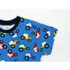 Dětské triko s krátkým rukávem traktory na modré detail rukávu