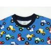 Dětské triko s krátkým rukávem traktory na modré detail krku