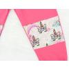 Dětské růžové tepláky s vysokým pasem jednorožci detail dvojtá kolena