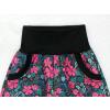 Dívčí letní softshellové kalhoty růžové květy detail pasu