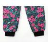 Dívčí letní softshellové kalhoty růžové květy detail nohavic