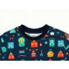 Dětské triko s dlouhým rukávem roboti detail krku