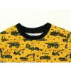 Dětské triko s dlouhým rukávem stavební stroje bagry detail krku