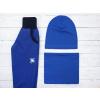 Dětské královsky modré softshellové kalhoty s fleecem detail kombinace