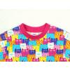 Dětské triko s dlohým rukávem barevné kočičky detail krku